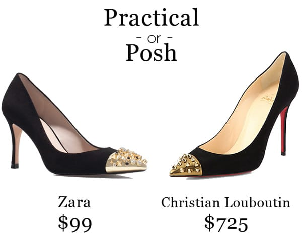 Practical or Posh: Black Leather Gold Studded Pumps