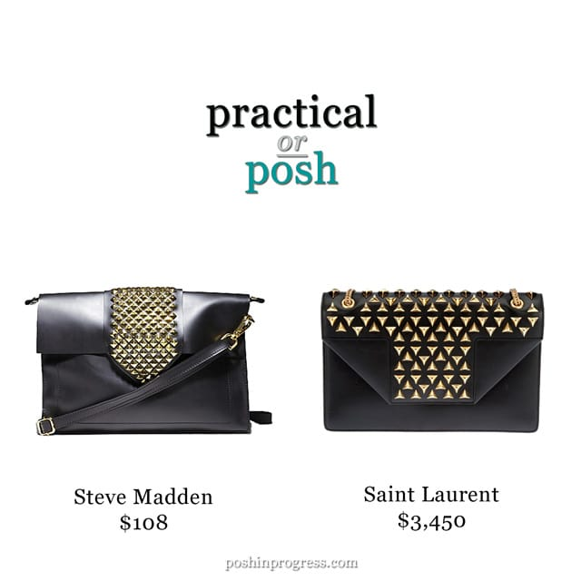 Practical or Posh: Black Leather Gold Studded Bag