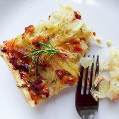 sweet onion bacon parmesan tart