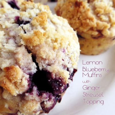Lemon Blueberry Muffins with Ginger Streusel Topping