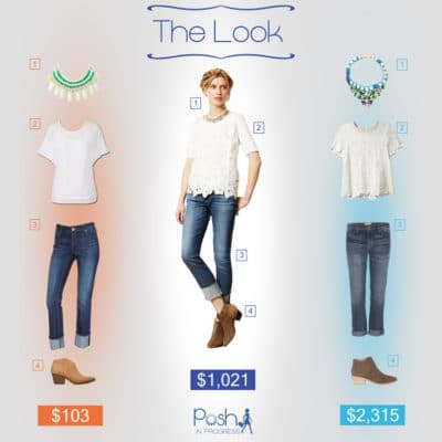 The Look at Three Pays: Cuffed Jeans and Lace Blouse