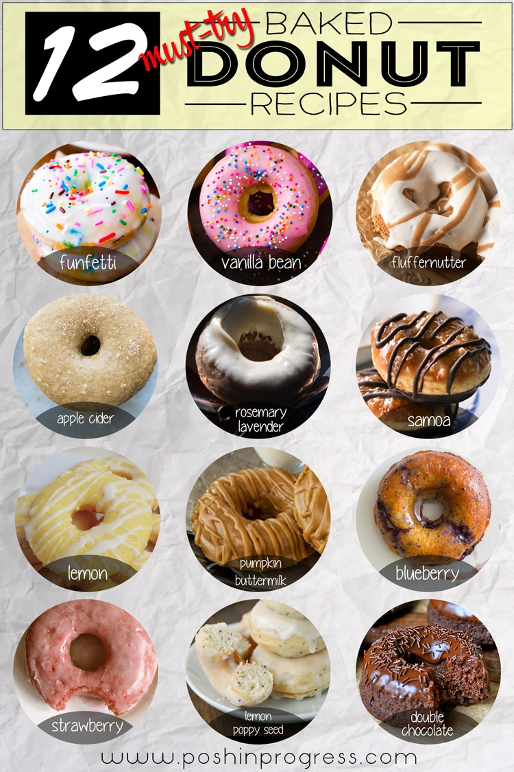 12 Must-Try Baked Donut Recipes featured by top LA lifestyle blogger, Posh in Progress | Baked Donut Recipes by popular LA lifestyle blog, Posh in Progress: collage image of baked donuts.