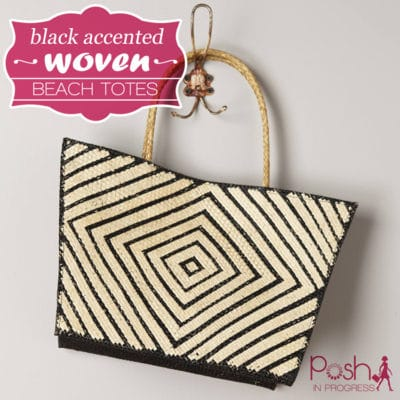 Black Accented Woven Beach Totes