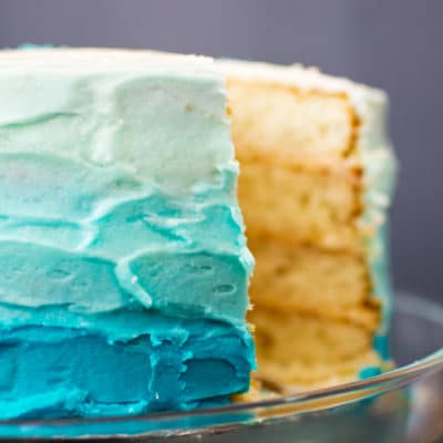 Blue Ombre Cake and DIY Cake Stencil