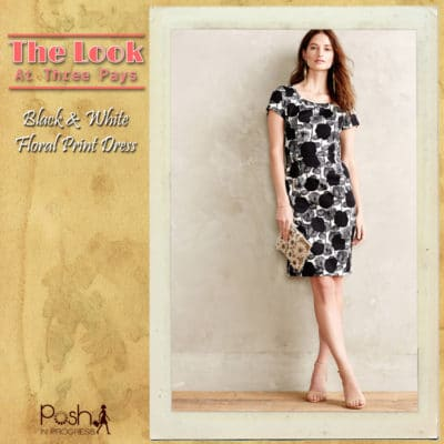 Three Pays: Black and White Floral Print Dress