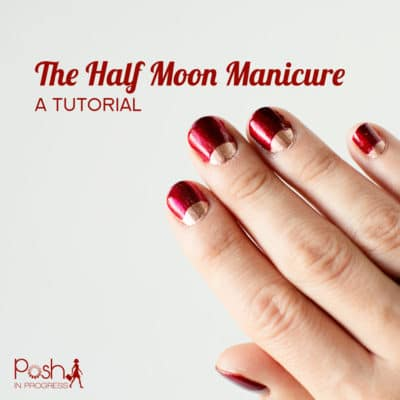 Red and Gold Half Moon Manicure Tutorial