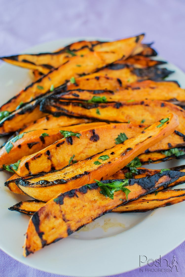Cilantro-Lime Grilled Sweet Potato Wedges   Memorial Day Grilling Recipes by popular LA lifestyle blog, Posh in Progress: image of cilantro lime sweet potato wedges.