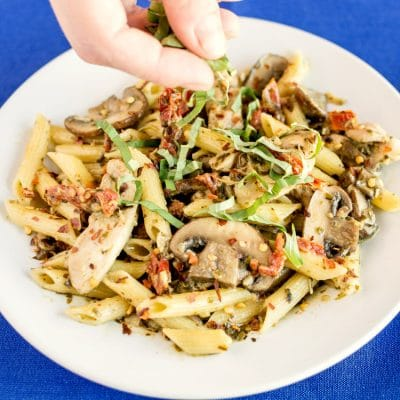 Creamy Chicken Pesto Penne with Sun-Dried Tomatoes & Mushrooms