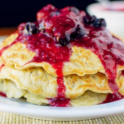 Gluten Free Oatmeal Pancakes with Mixed Berry Compote