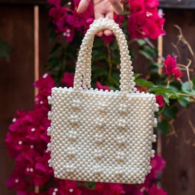Practical or Posh: White Pearl Purses at 3 Different Prices