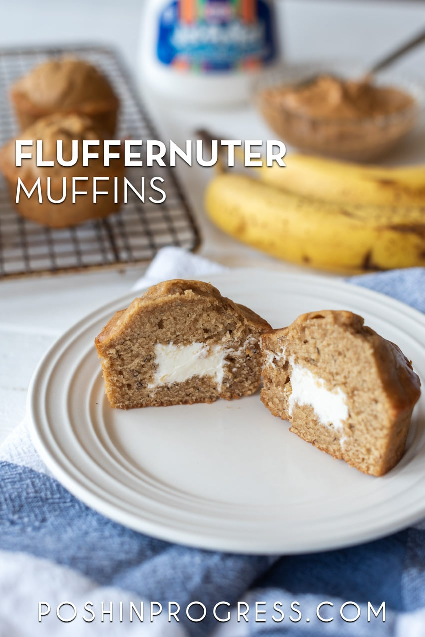 these fluffernutter muffins with marshmallow creme are delicious!