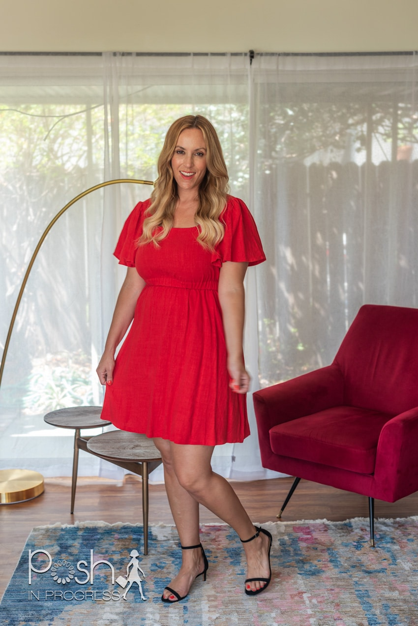 red knee length dress