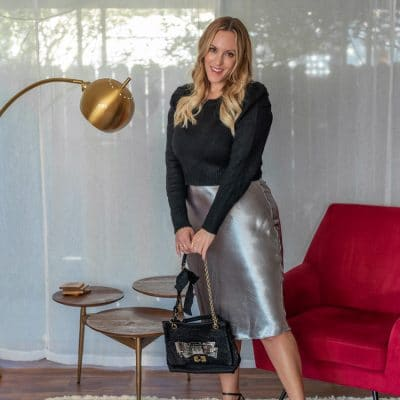 This Silver Metallic Skirt Is the Best Option for a Holiday Party