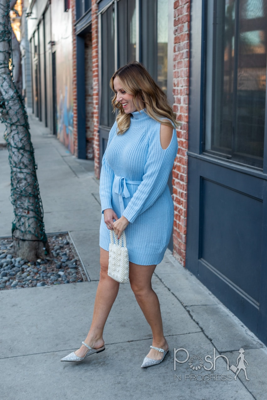 cold shoulder sweater dresses