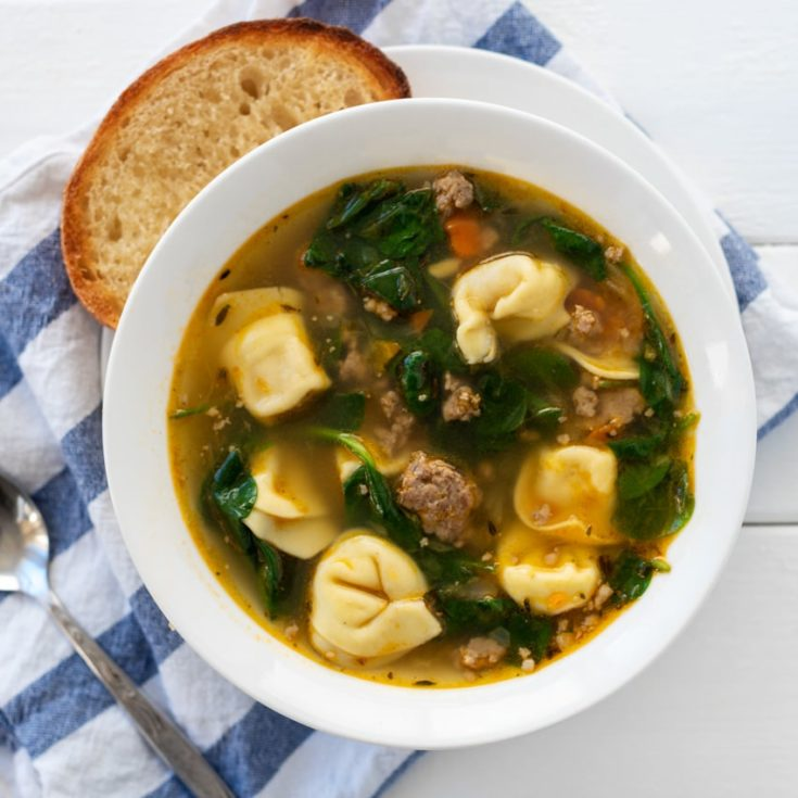This authentic Italian sausage tortellini soup is awesome!