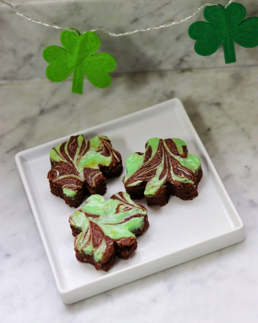 Shamrock brownies bring in the Chocolate mint flavor