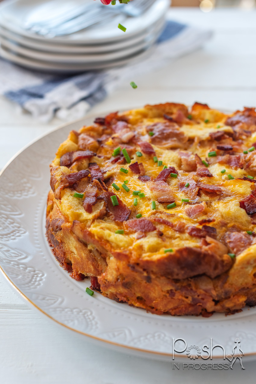 Bacon Egg and Cheese Strata Recipe featured by top LA lifestyle blogger, Posh in Progress
