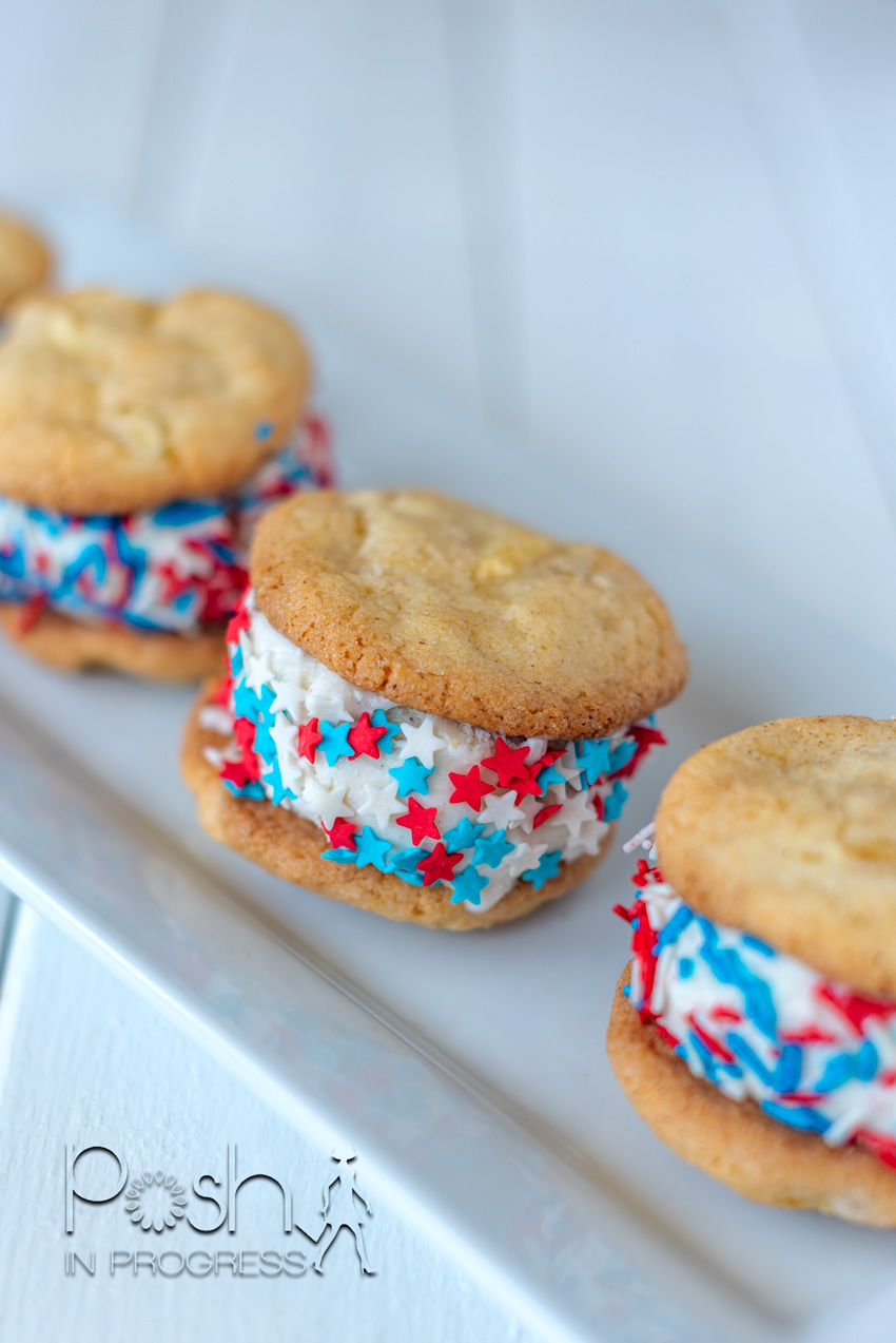 Apple Pie Cookies by popular LA lifestyle blog, Posh in Progress: image of Apple Pie ice cream sandwich cookies with red, white and blue star sprinkles on a white rectangular ceramic plate.