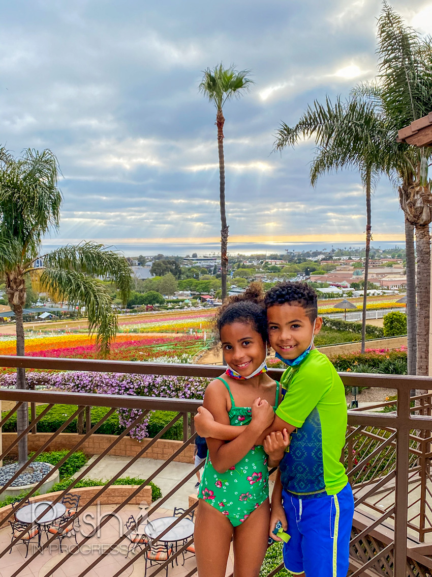 Carlsbad Flower Fields by popular LA lifestyle blog, Posh in Progress: image of a young boy and girl wearing swimsuits and hugging eachother while standing on some stairs that overlook the Carlsbad flower fields.
