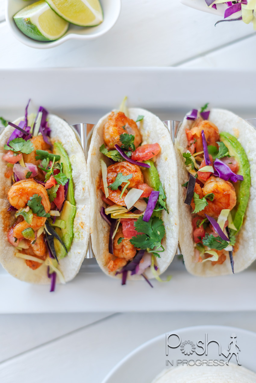 Shrimp Tacos Recipe by popular LA lifestyle blog, Posh in Progress: image of shrimp tacos on a white platter.