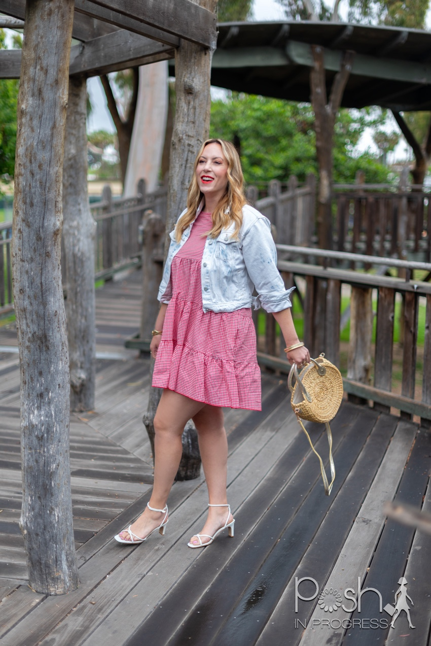 Shein Red Gingham Dress styled for Memorial Day by top LA fashion blogger, Posh in Progress