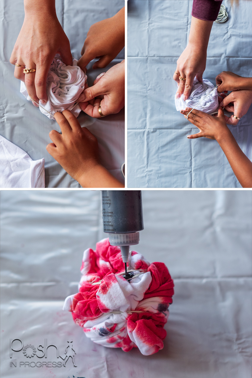 custom tie-dye shirts 1 | Custom tie dye shirts by popular LA fashion blog, Posh in Progress: image of a woman putting dye on a white shirt.