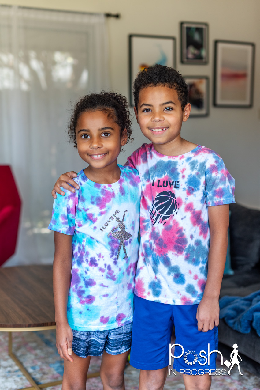 Custom tie dye shirts by popular LA fashion blog, Posh in Progress: image of a young boy and girl standing next to each other and wearing tie dye shirts.