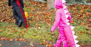How to Make This Simple DIY Dinosaur Costume Out of a Sweat Suit; how to make easy diy costume for kids